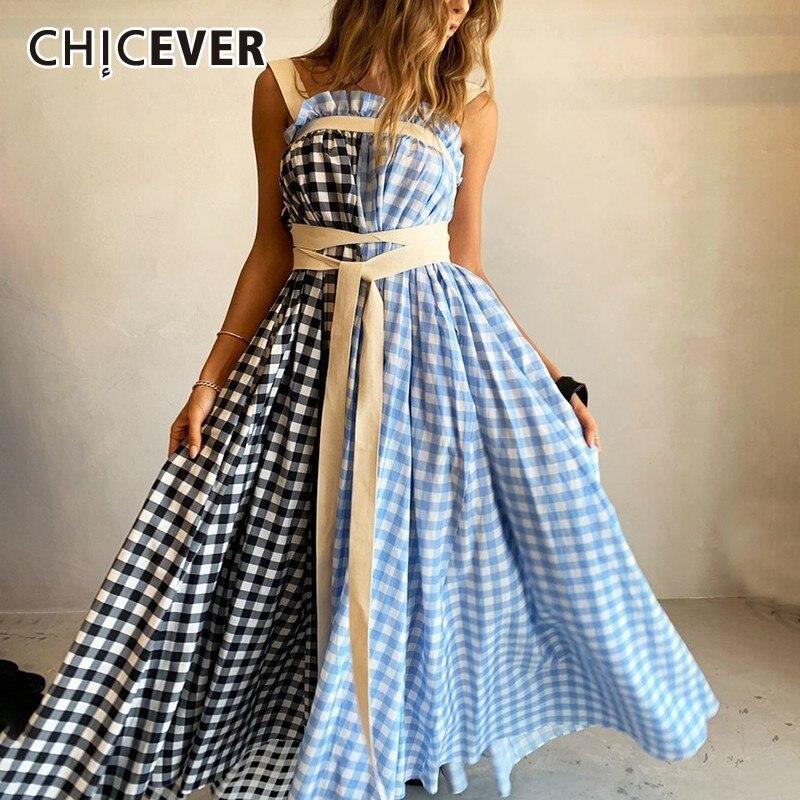 CHICEVER Plaid Sleeveless Blue Women Dress Spaghetti Strap High Waist Bandage Hit Color Midi Dresses Female