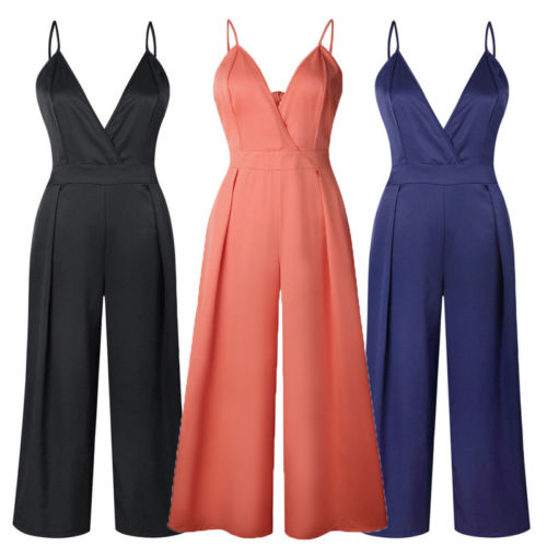 Women Lady V Neck Loose   Jumpsuit   Playsuit Party Ladies Romper Sleeveless Spaghetti Strap High Waisted Long   Jumpsuit