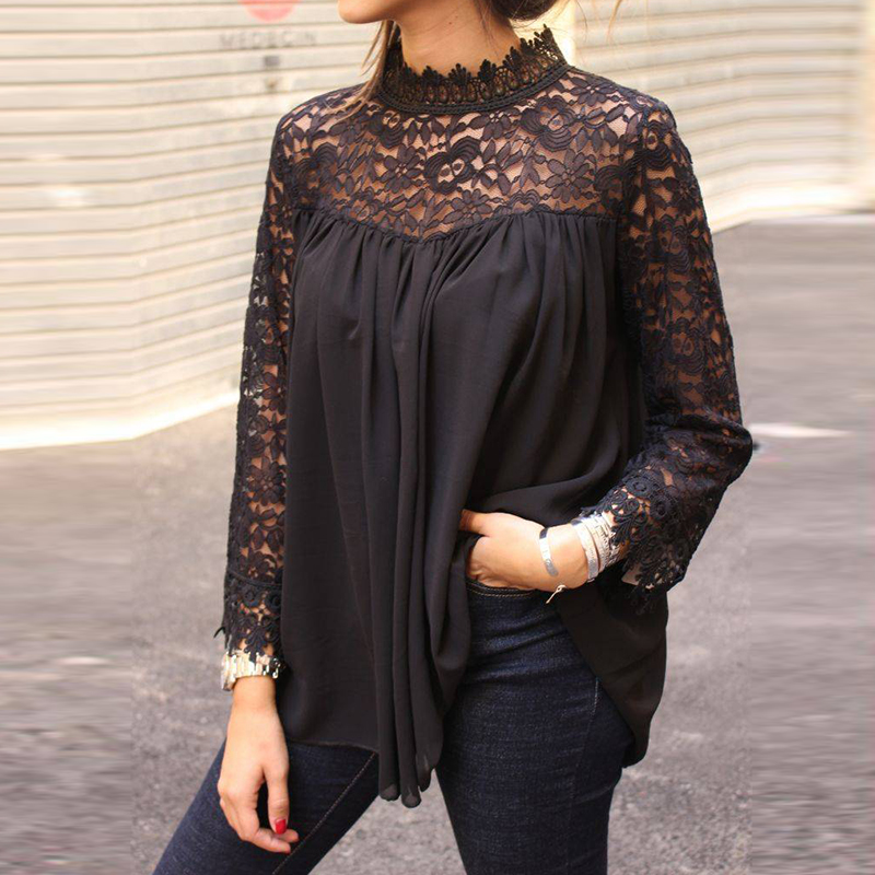 2019 Woman Lace Black   Blouse     Shirt   Women Autumn Casual Loose Long Sleeve   Shirts   Fashion Female Lace Patchwork Blusa Femme Blusas