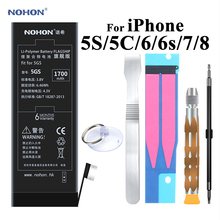 Nohon Battery For Apple iPhone 5S 5C 6 6s 7 8 High Capacity Li-polymer Battery + Tools For Apple iPhone 5S 5C 6 6s 7 8 Batteries