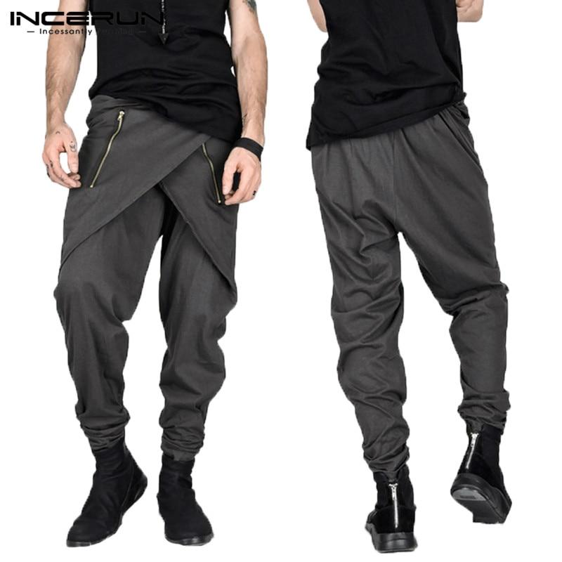 Stylish Pants Feminias Fashion Skirt Style Mens Harem Pants Irregular Zipper Slim Fit Sweatpants Pantalon Hombre Cool Trousers