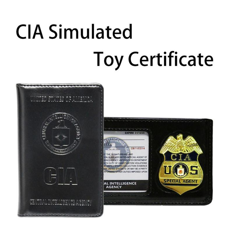 NEW CIA Police Pretend Toy Badge Wallet Simulation Police ID Card Role Playing Cosplay Tool For Men Boy