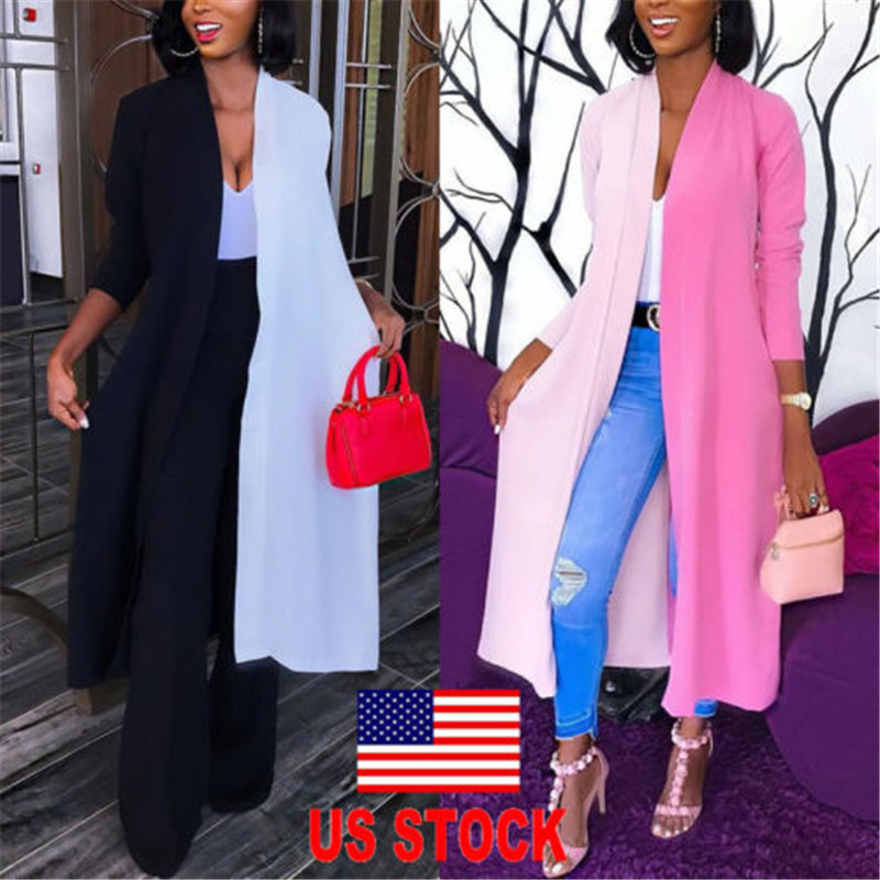 US Women's Loose Long Sleeve Cardigan Summer Kimono Shawl Tops Blouse Casual Long  Patchwork Tops