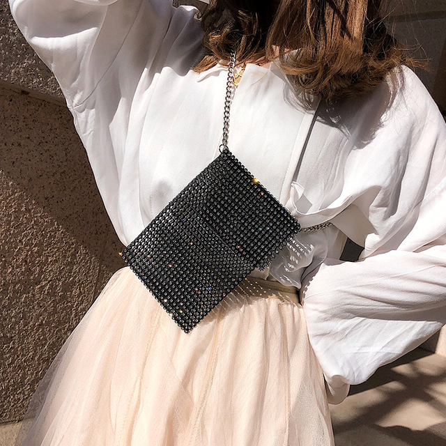 Super Flash Women Shoulder Bag Full Diamonds Lady Crossbody Bag Chain Diagonal Handbag Mobile Phone Lady Personality Mini Bag 2