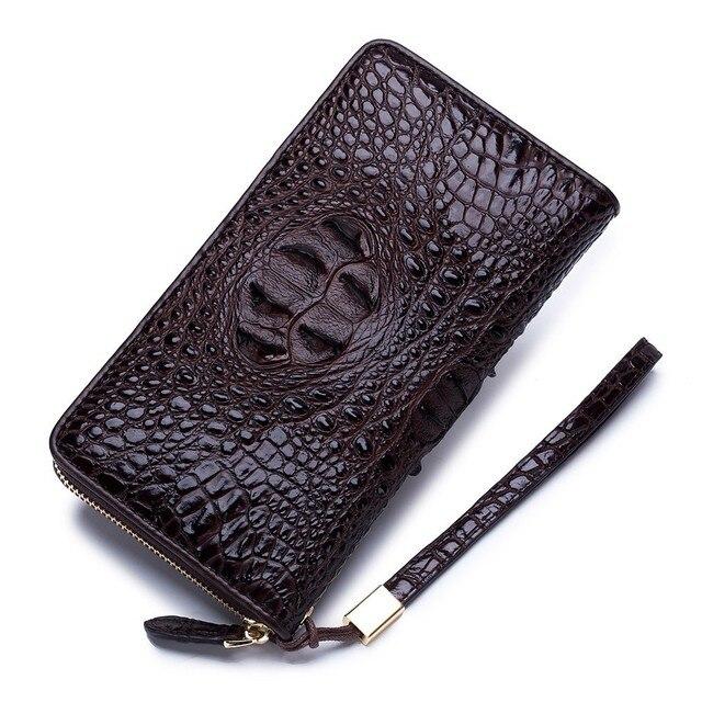 27529d2ed Cartera de lujo cuero vaca los hombres billetera con cremallera hombre  embrague Tarjeta alta calidad bolsa monedero negocios la moneda carteras