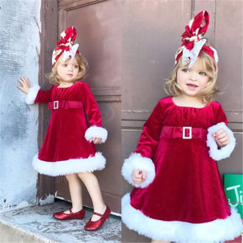 Emmababy Hot Sale Kids Girls Christmas Round Neck Santa Dresses Leisure Comfort Baby Girl Costume Waistband Dress Drop Ship hot sell christmas blue nativity dress boutqiue baby girl hot style dresses