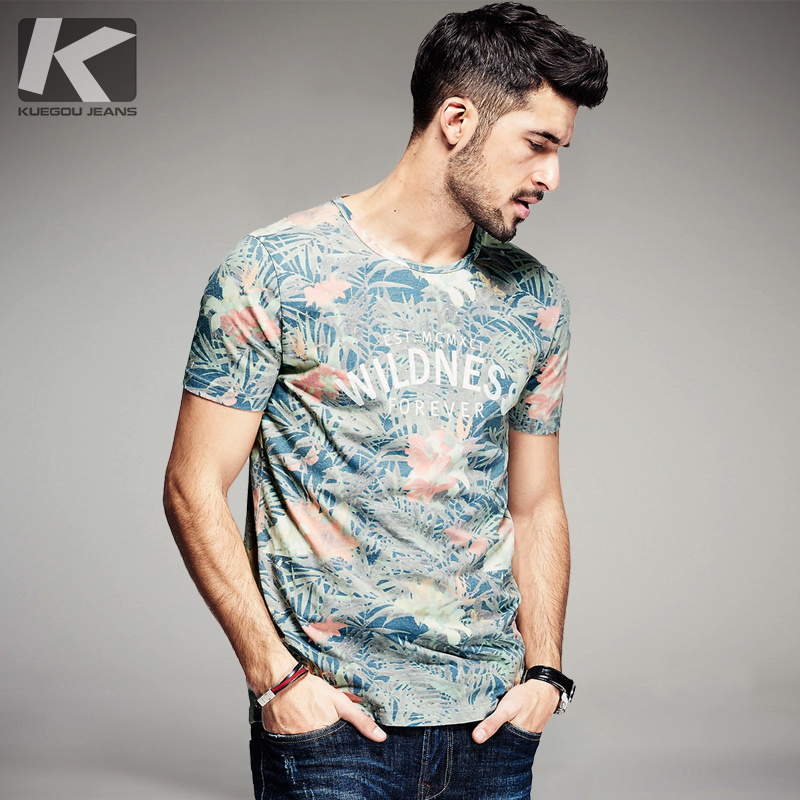 KUEGOU New Summer Mens Fashion T-skjorte Letter Flower Print Green Brand Clothing Man's Short Sleeve T-Shirts Plus Size Tee 8284