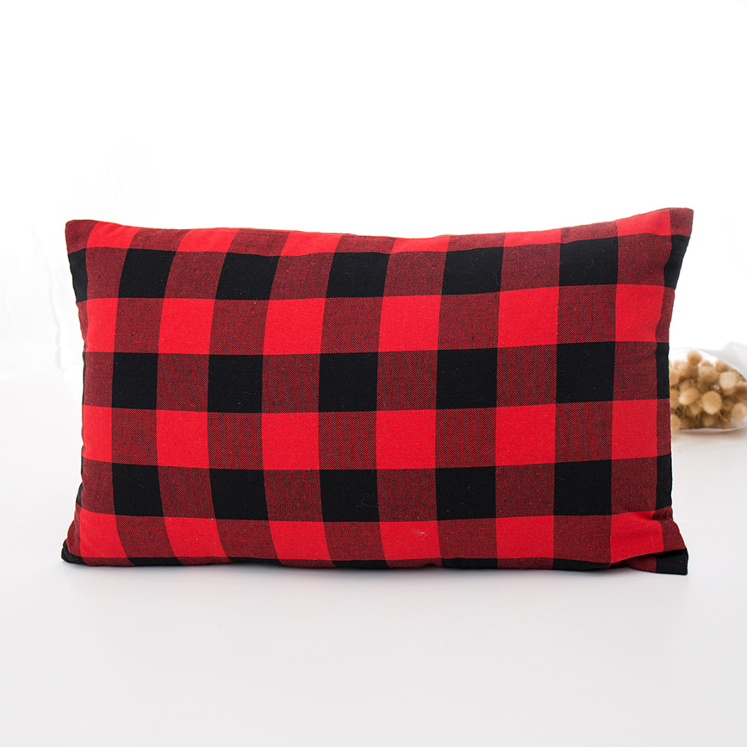 45cm*45cm 50*30cm Cushion Cover Red Black Plaid <font><b>Pillow</b></font> <font><b>Case</b></font> For Sofa Office Cotton Cushion Cover Home Decor image