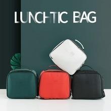 Yicana lunch Bag keep food Picnic box Fashion Portable Insulated Waterproof PU bags for women kids Men bag