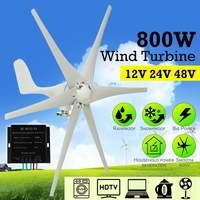 New 800W 12V 24 V 48 Volt 6 Nylon Fiber Blade Horizontal Home Wind Turbines Wind Generator Power Windmill Energy Turbines Charge