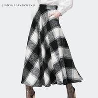 Long Skirt Winter Women 2018 Plus Size A Line High Waist Skirt Plaid Ankle Length Warm Wool Ladies Casual Skirt Zipper Jupe
