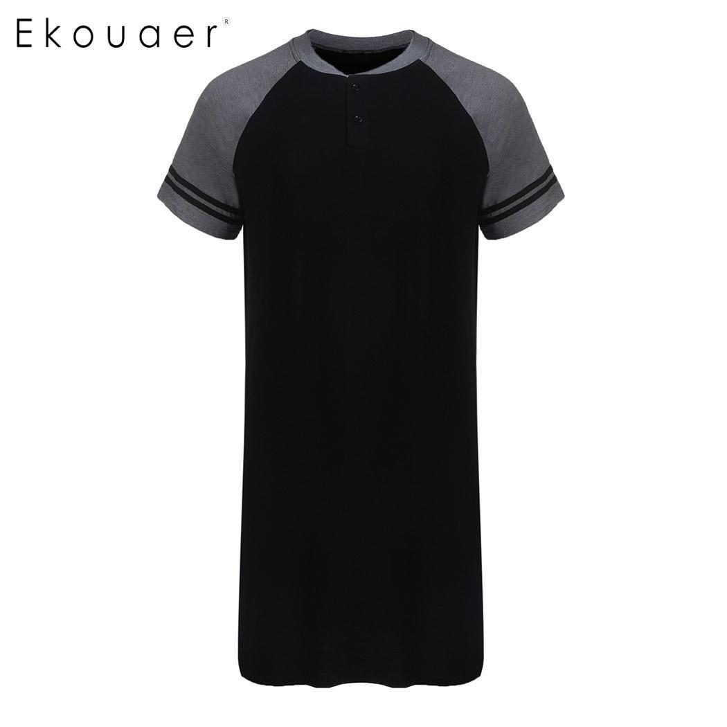 Ekouaer Men Sleepshirts Soft Nightshirts Nightewear Short Sleeve Loose Long Sleep Shirt Men Sleepwear Home Clothes Plus Size