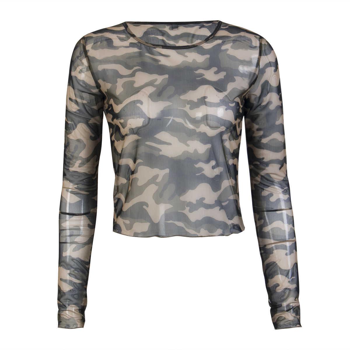 2019 moda odzież damska na co dzień z długim rękawem T-shirt lato Crop topy wojskowy styl ubrania kobiet kamuflaż koszulki