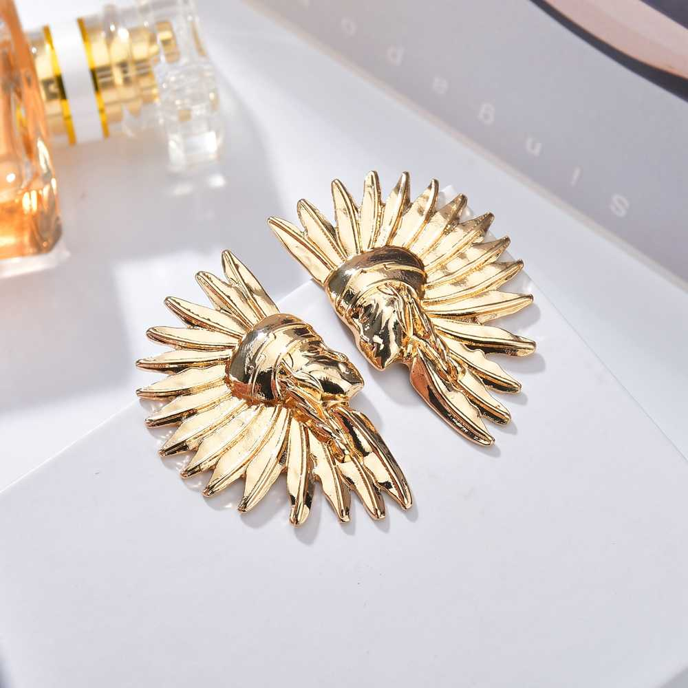 2019 Boho Gold Color Big Geometric Big Stud Earrings Bijoux For Women Vintage Geometry Sector Shape Cameo Earrings Jewelry Gifts