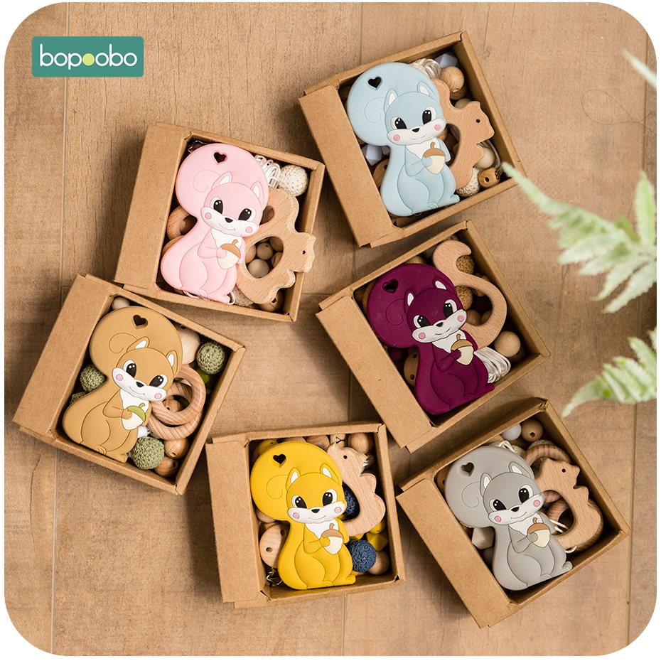 Bopoobo 1Set Baby Silicone Teether Squirrel Tiny Rod For Children Baby Wood Teether New Born Baby Toys Pearl Silicone Beads