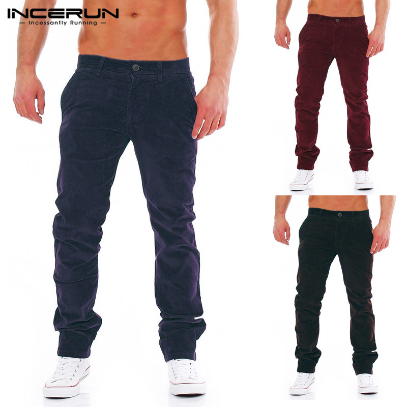 INCERUN Fashion Corduroy Mens Pants Sweatpant Cargo Pants Loose Fitness Tracksuits Harem Chinos Trousers Winter Warm Pantalon
