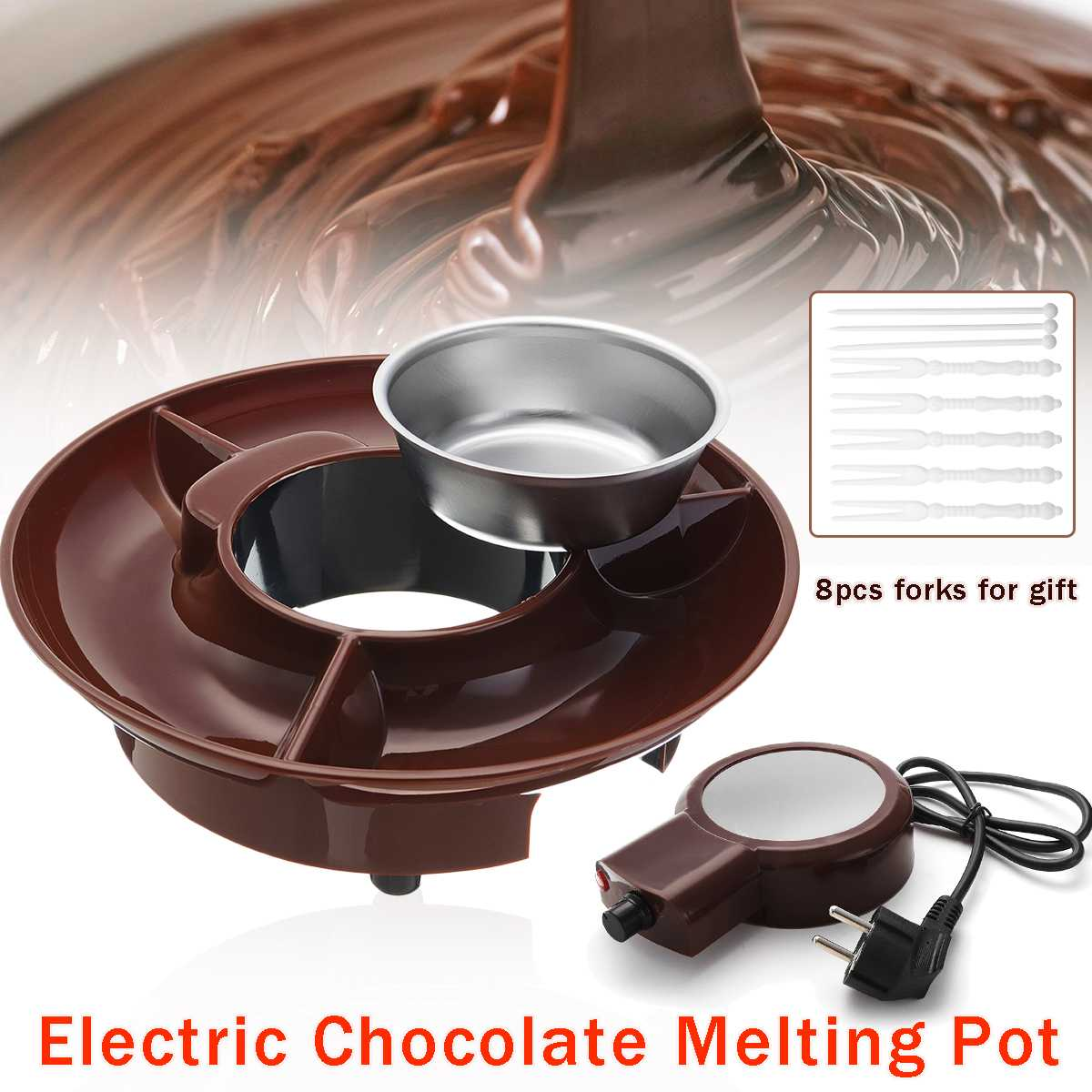 230V 260ml Electric Melting Pot Chocolate Fondue Maker Candy Dessert Cheese Fountain Boiler ABS+Stainless Steel for 6-8 People image