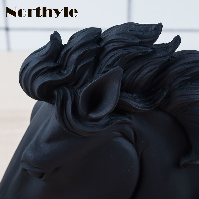 Northyle Unique black horse head statue resin figurine for home decoration horse head craft feng shui xmas decor gift for men in Figurines Miniatures from Home Garden