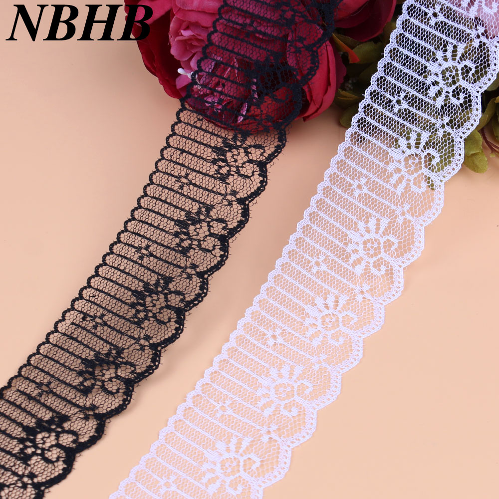 Sweet-Tempered Nbhb Beautiful 10 Yards Embroidered White Lace Ribbon 47mm Wide French African Lace Fabric Trim For Sewing Accessories Lace