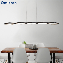 Omicron Modern Metal Led Pendant Lights White Black Minimalism Long Strip Lamp Decoration For Study Room Decor