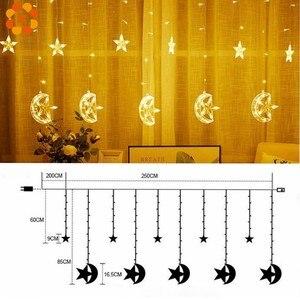 Image 5 - 1Set 3 Stili Ramadan Star & Moon AC 220V LED Ghirlanda di Luci Della Stringa Della Tenda EID Mubarak Decorazione di Cerimonia Nuziale festa di compleanno Forniture