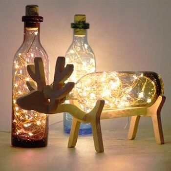 Nordic Creative Wood Deer Lamp Led Strip Lights Blue Glass Bottle Night Lights Art Deco Usb Lighting Chirstmas Birthday Gift
