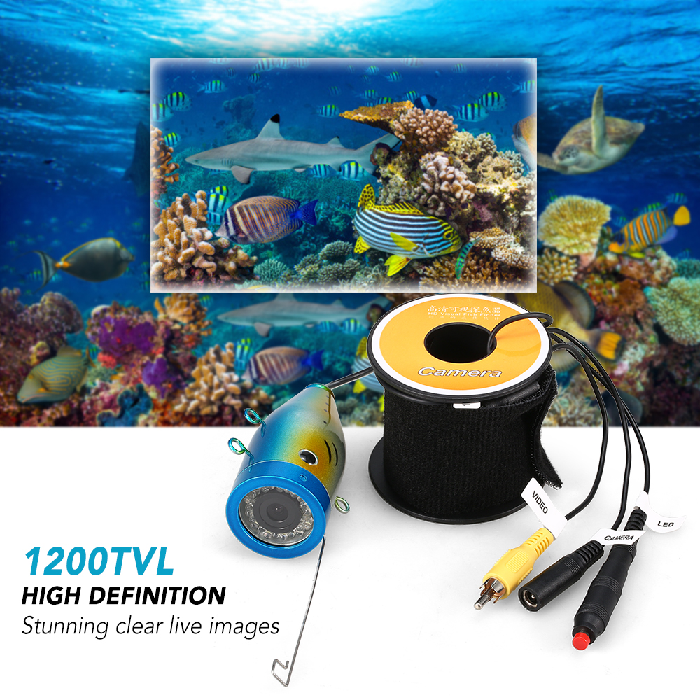Underwater Fishing Camera 24 LEDs Fish Shape Boat Ice Fish Finder Accessories 15m/30m/50m Cable