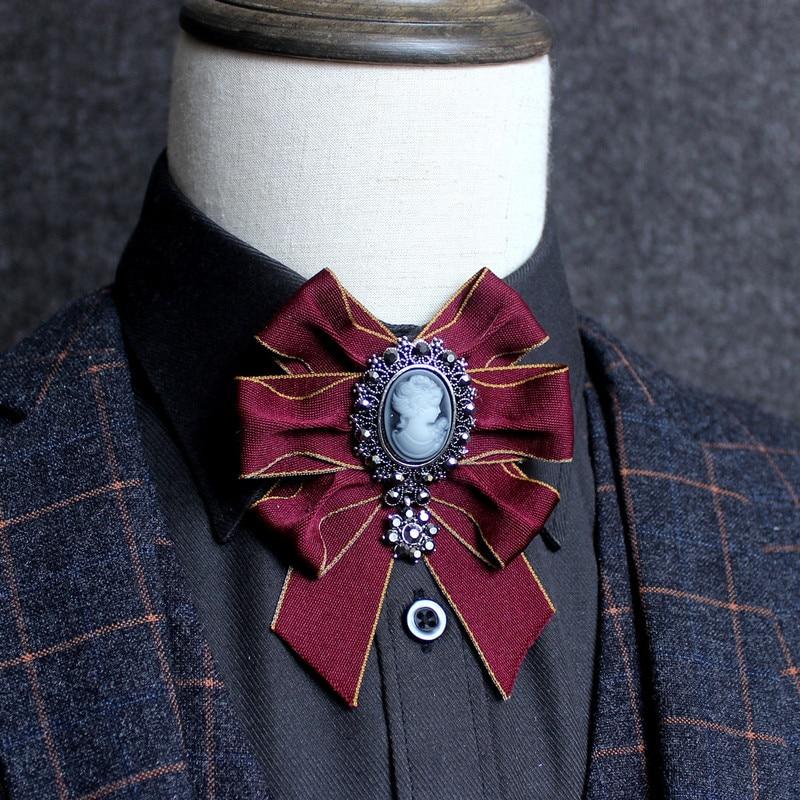 i-Remiel Bow Tie Bows Breastpin Collar Pearl Cameo Metal Pins And Brooches Harajuku Shirt Collar Accessories Jewelry Groomsmen locket