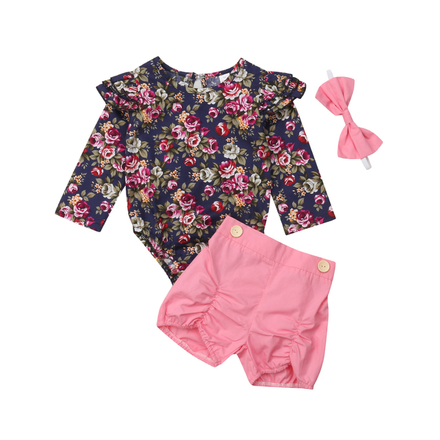 2512d16c7 Emmababy Newborn Baby Girls Print Long Sleeve Casual Romper Tops Jumpsuit  Shorts Headband Outfits Clothes Set