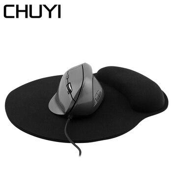 Эргономичная Вертикальная мышь CHUYI 5D, компьютерные игровые мыши 1600DPI, Проводная оптическая мышь для ноутбука Mause Gamer с подставкой для запясть...