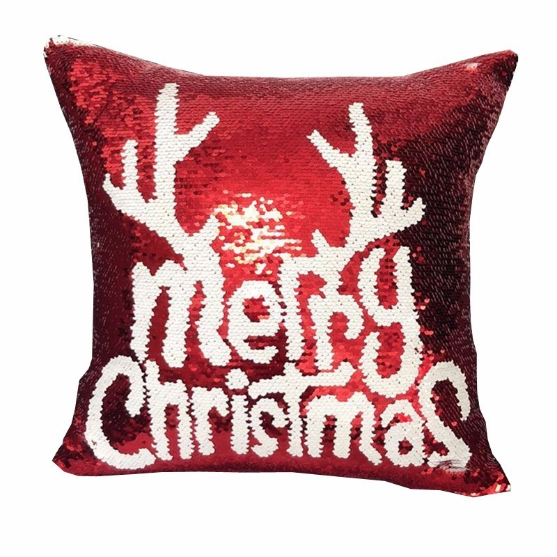 Magical Shining Christmas Deer Snowflake Cushion Cover with Sequins Throw Pillow Case Cover for Seat Car 40x40cm Christmas Gift