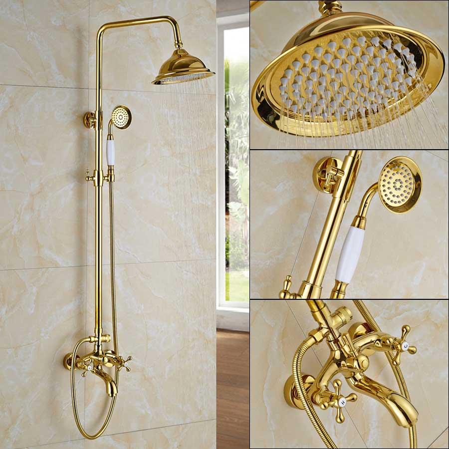 golden shower faucet dual handle shower faucet set wall mounted rainfall shower system bathroom bath shower mixer sliding bar