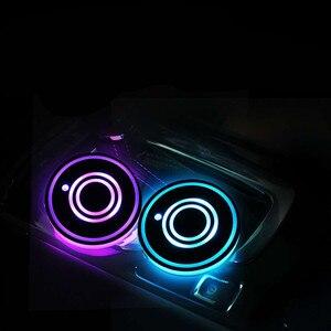 Image 5 - 7 ألوان العالمي سيارة كأس حامل أسفل حصيرة حامل مياه الشرب المنظم الوسادة USB LED الاستشعار أضواء الغلاف الجوي مصباح