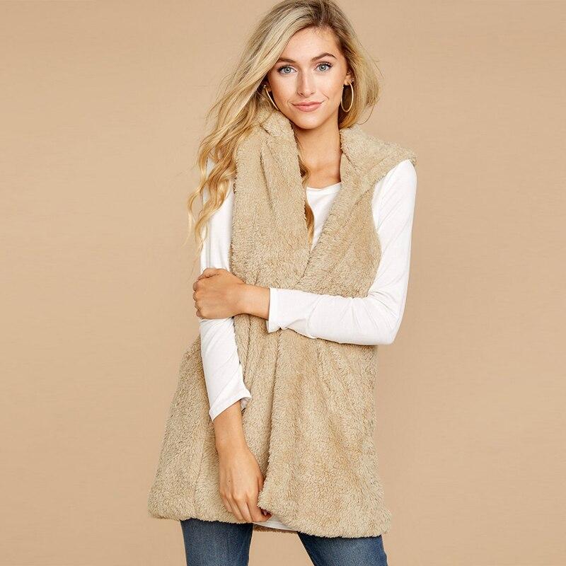 New Fashion Women Faux Fur Waistcoat Jacket Outwear Autumn Winter Cardigan Casual Slim Sleeveless Vest Jacket Outwear Overcoat