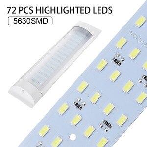Image 4 - 4 sztuk 72LED wewnętrzna lampka Tube dodatkowa lampa LED do samochodu lampa 24V biały pasek świetlówka przełącznik dla Auto Caravan Trailer/RV części