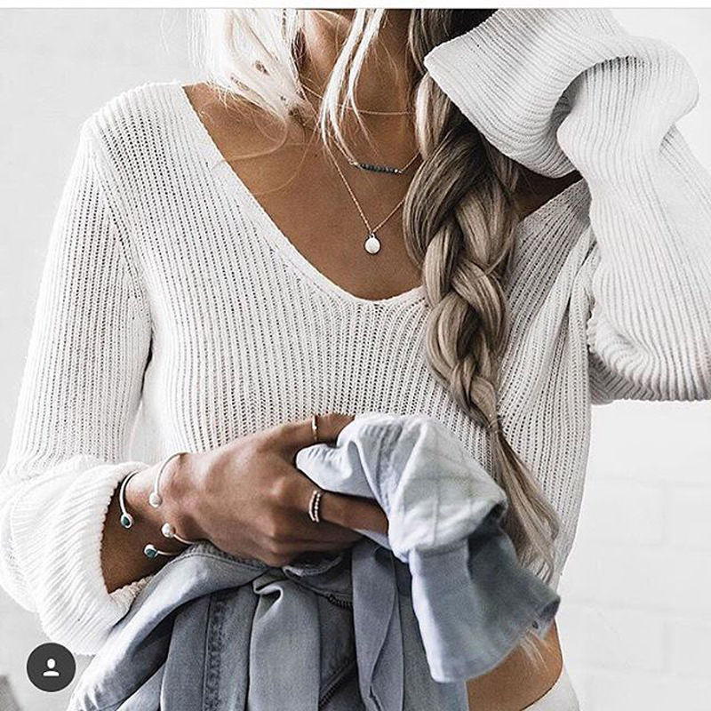 2019 Hot Women Casual Long Sleeve Knitted Pullover Loose Sweater Jumper Crop Top Knitwear