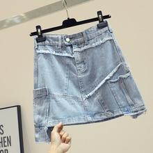 Women Skirt Denim Cotton Above Knee Mini Length A-Line Button Solid Empire Waist Spring Summer Irregular Casual цена и фото