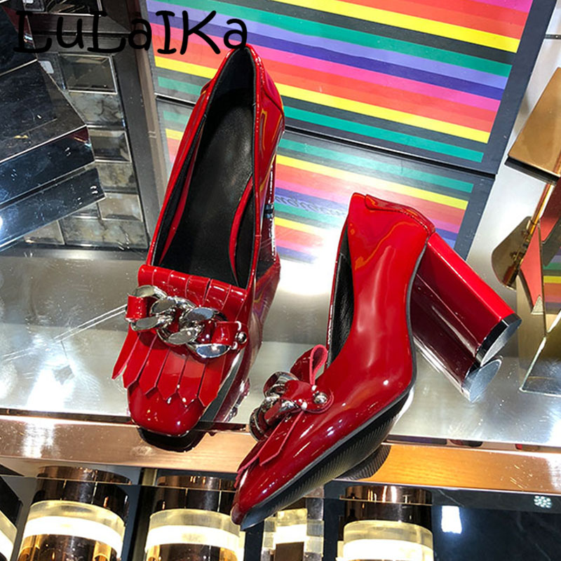 2018 Winter Brand Leather Ladies Pumps Sexy Round Toe Solid Color Fringe Metal Chain Wedding Party Woman High Heel Shoes 8cm2018 Winter Brand Leather Ladies Pumps Sexy Round Toe Solid Color Fringe Metal Chain Wedding Party Woman High Heel Shoes 8cm