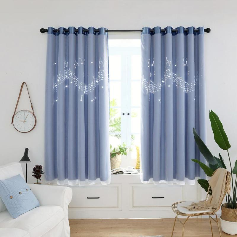 2pcs Curtains For Living Room Hollow Musical Notes Windows