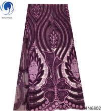 Beautifical velvet laces embroidery fabric african lace alibaba express purple color 5 yards/piece 44N68
