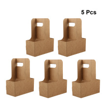 5PCS Eco Friendly Kraft Paper Cup Holder Disposable Drinks C