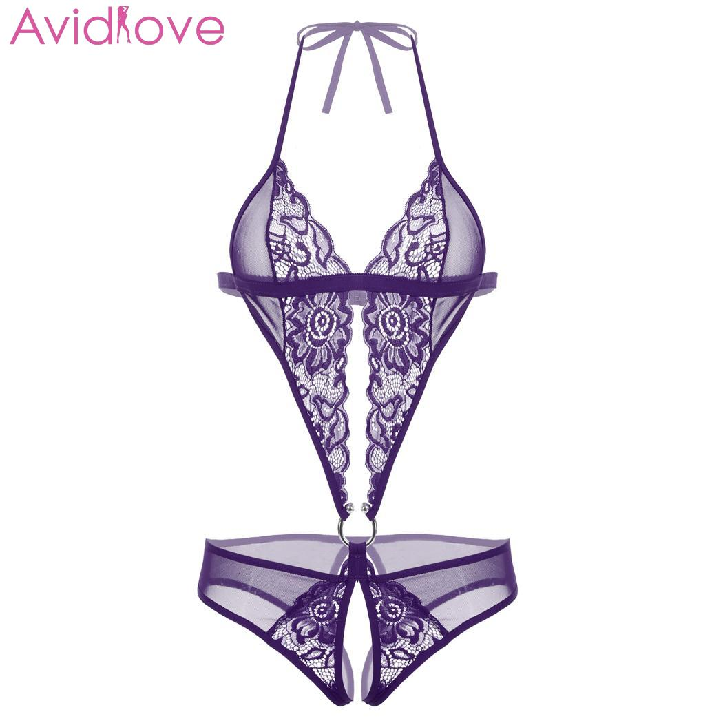 Avidlove Badydoll Sexy Lingerie Sleepwear Nightwear Lace Hook Cut Wear Halter Lingerie Solid Sleeveless Sexy Out Natural Women(China)