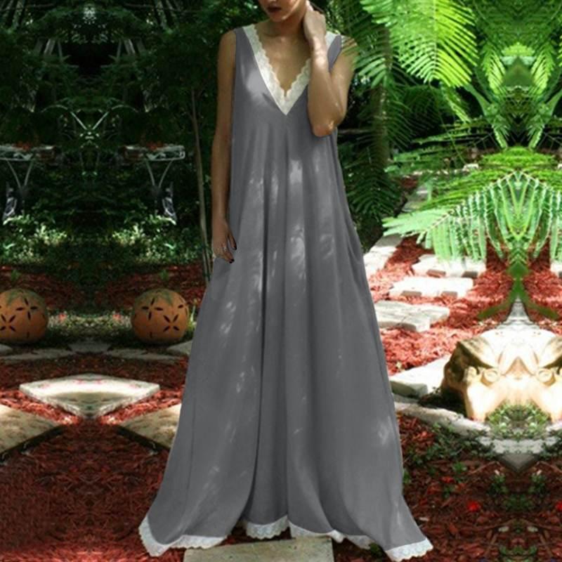 VONDA женское платье 2019 летнее сексуальное с v-образным вырезом Длинное Макси платье для вечеринок пляжное кружевное пэчворк, кэжуал, свободны...