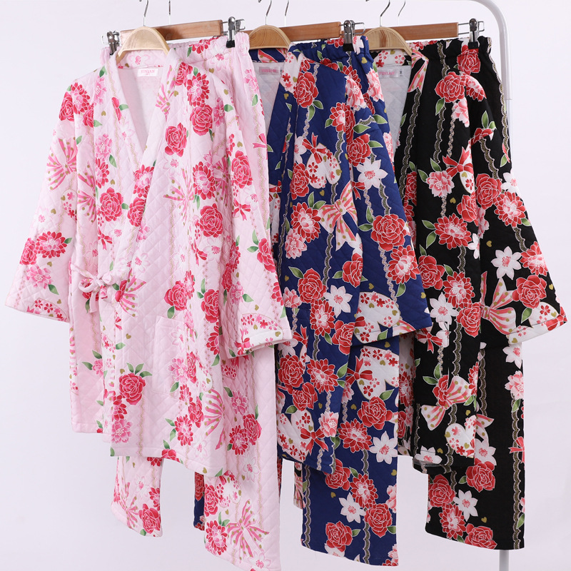 Winter New Cotton Thickened Air Layer Kimono   Pajamas   V-Neck Pijama Mujer Floral Plus Size   Pajama     Set   Loungewear Women Pyjamas