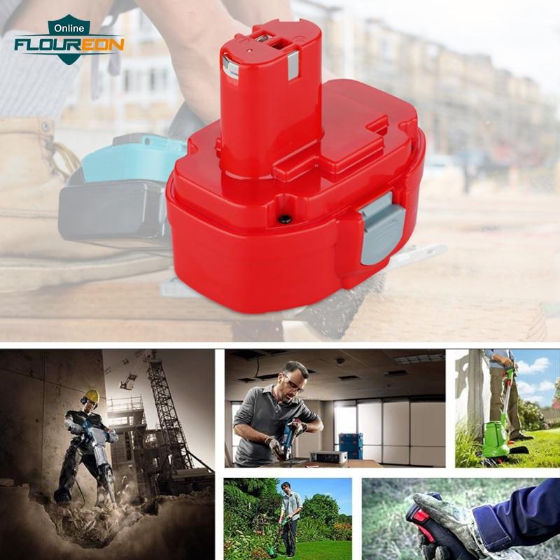 FLOUREON 14.4 V 3000 mAh Ni-MH Rechargeable Batterie pour Makita PA14 JR140D 1420 1422 1433 1434 1435F 192699-A 6381D Makita Batterie