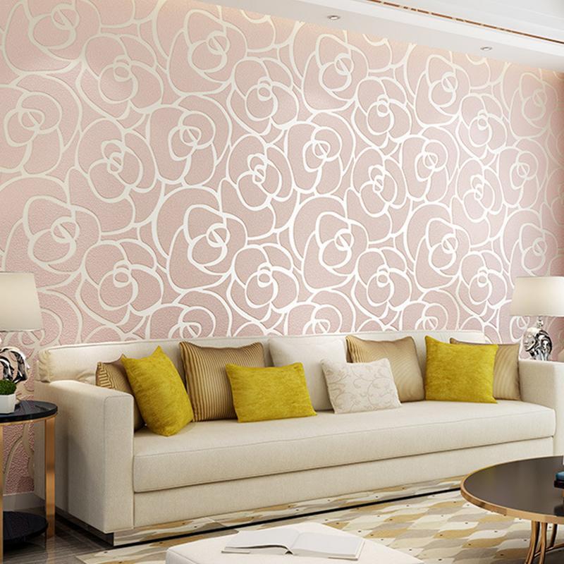 Vintage 3D Rose papier peint rouleau Non-tissé en relief imité Deerskin papier peint chambre salon TV fond mur autocollant