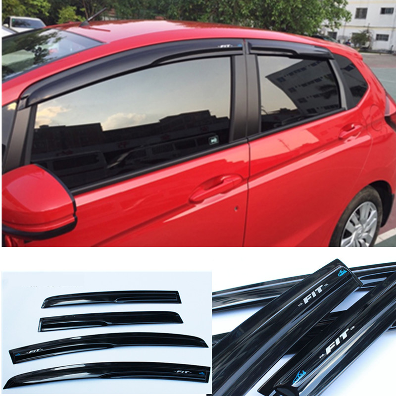 Free shipping 4pcs Window Visor Shade Vent Wind Rain Deflector Guards Cover For Honda Fit 2014-2018Free shipping 4pcs Window Visor Shade Vent Wind Rain Deflector Guards Cover For Honda Fit 2014-2018