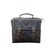 Top Grade Male Men's Vintage Real Crazy Horse Leather Briefcase Messenger Shoulder Portfolio Laptop Bag Case Office Handbag