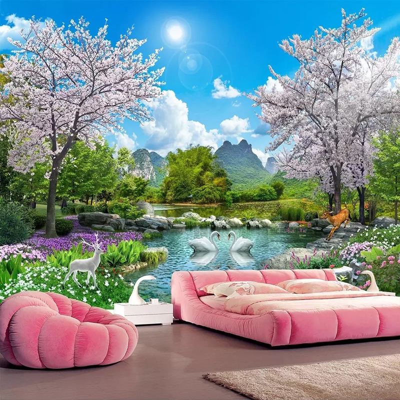 Custom 3D Photo Wallpaper Home Decor Cherry Blossom Tree Swan Deer Landscape Wall Painting Living Room Bedroom Mural Wall Paper