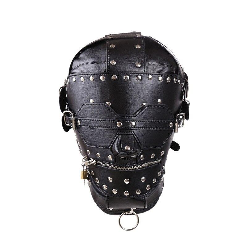 PU cuir BDSM Bondage Rivet masque pleine tête harnais fétiche bandeau fermeture à glissière verrouillage sexe esclave capuche adultes Sex Toys pour Couples